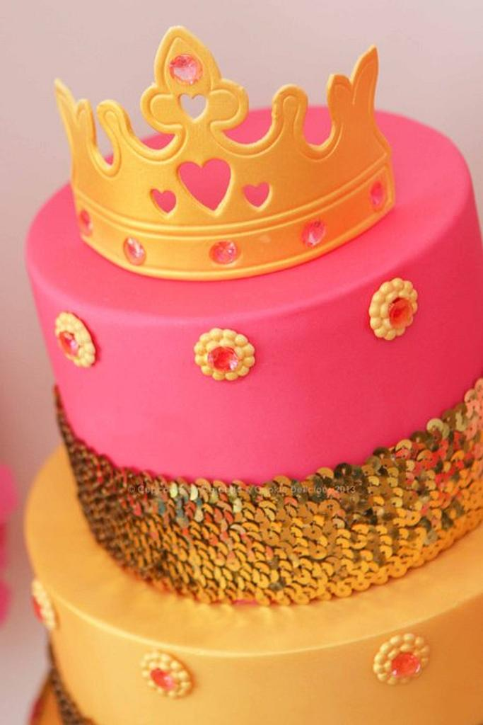 Pink & Gold Princess Dessert Table by Cupcakes by Amanda