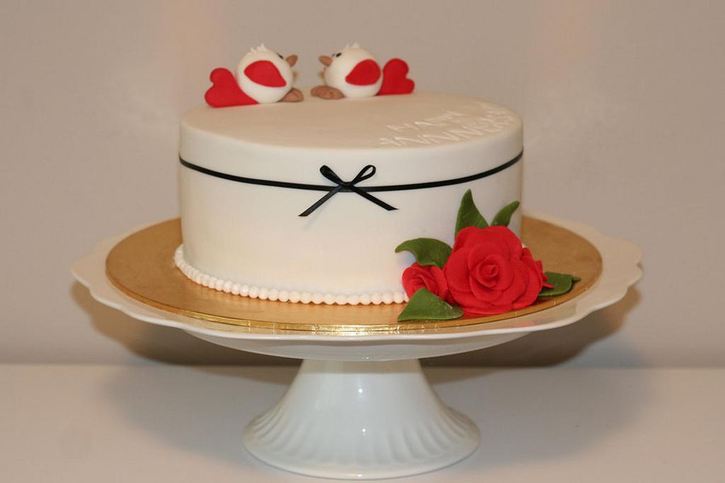 Tweethearts - wedding anniversary cake. by BeesNees