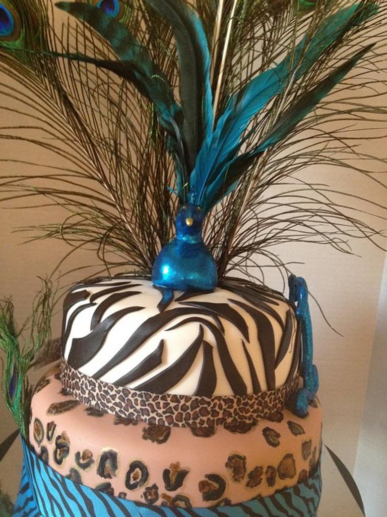 Peacock Cake by kangaroocakegirl