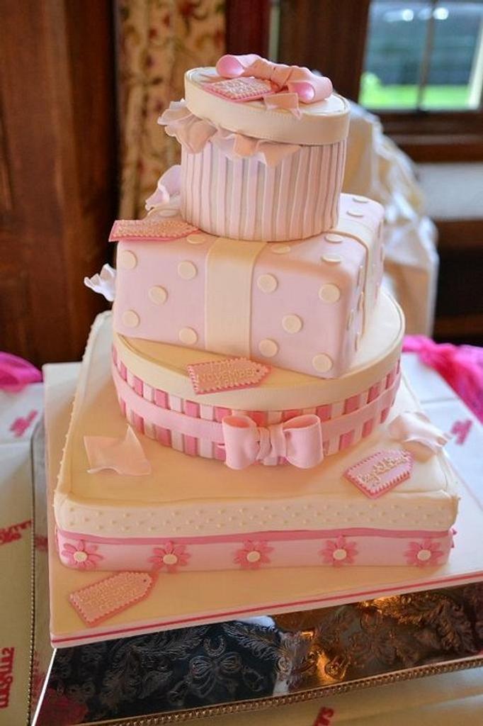 Pink parcel wedding cake by Samantha Tempest