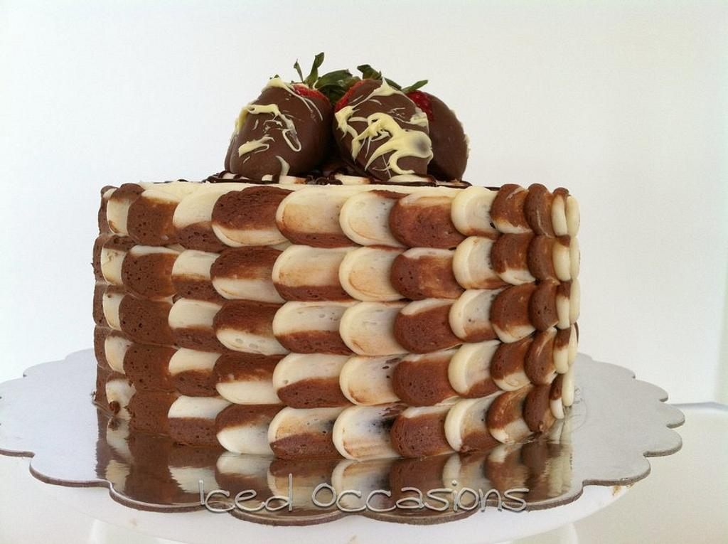 "Chocolate Dipped Strawberry ""Petal"" Cake by Morgan"