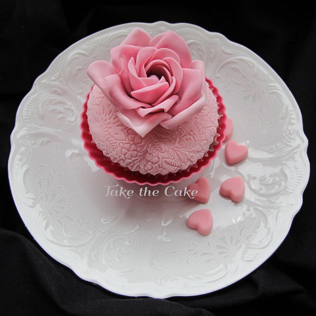 Pink Rose Cupcake by Kseniya Zaytseva