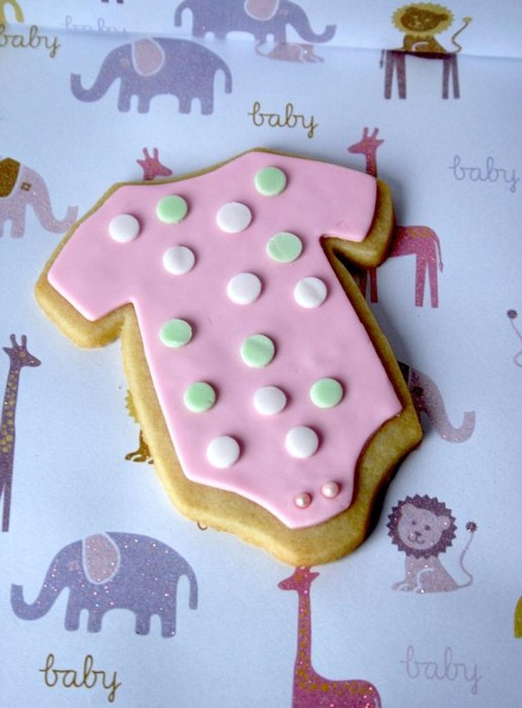 Onesie cookies for Baby Shower by Bridgette