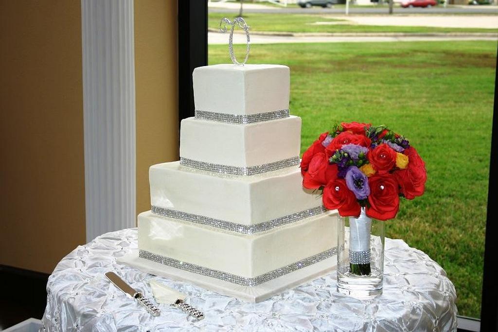 Elegant, bling wedding! by Kristi's Cakery