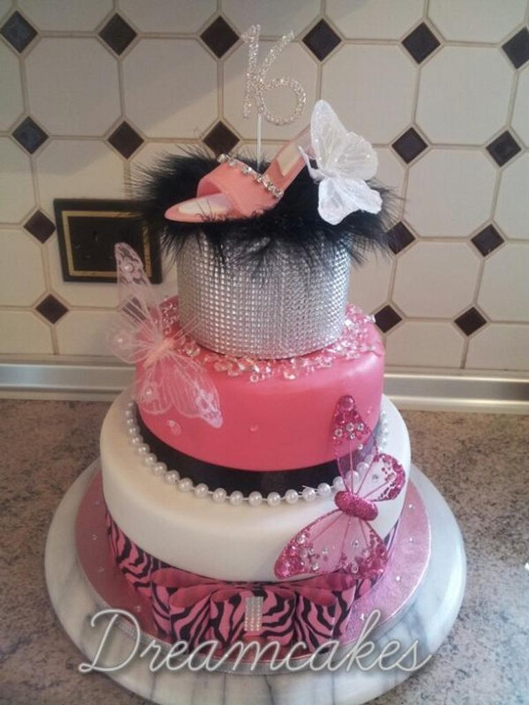 3 tier butterfly cake by Tracey