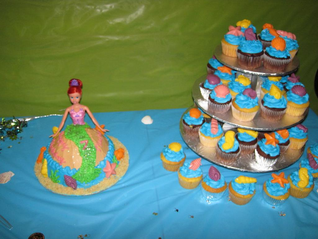 Mermaid Doll Cake & Seashell Cupcake Tower by Lori