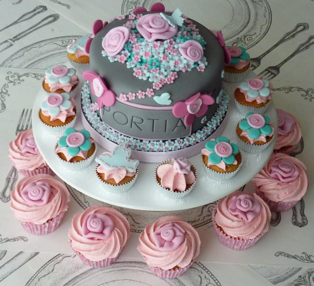 Cake and cupcakes for Portia by Strawberry Lane Cake Company