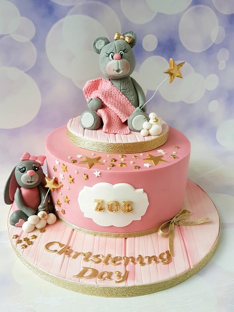 Pink..christening cake by Jenny Dowd