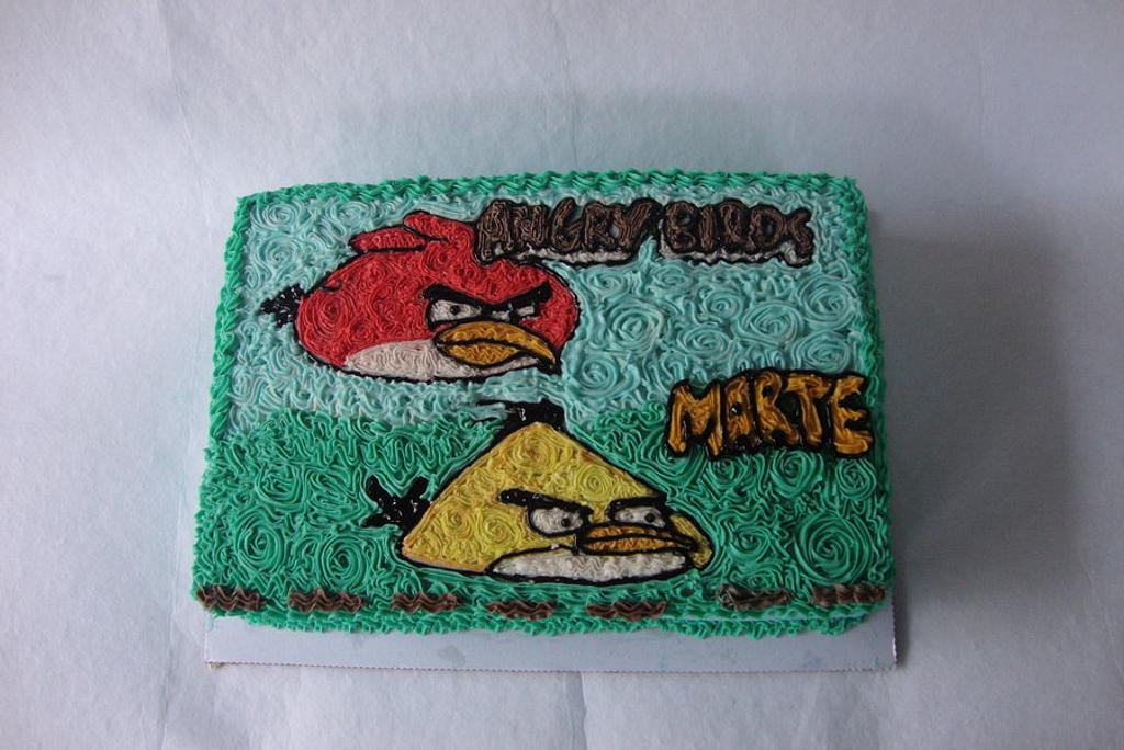 angry birds sheet cake by tupsy cakes