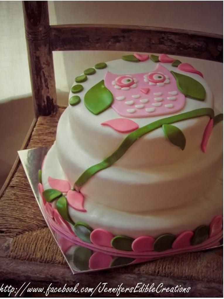 Simple Owl Cake by Jennifer's Edible Creations