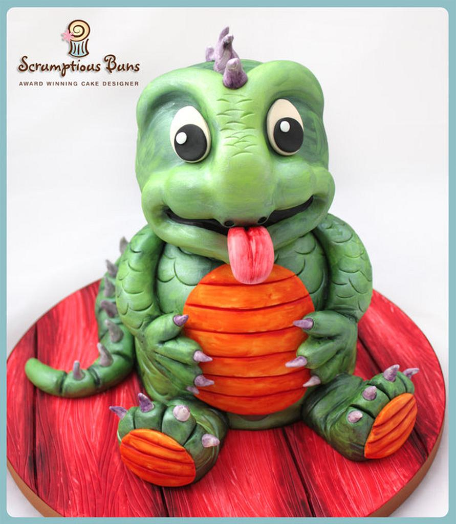 Painted Dino Cake by Scrumptious Buns