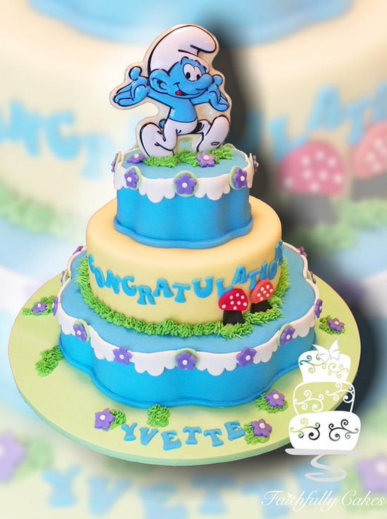 Smurfs Baby Shower by FaithfullyCakes