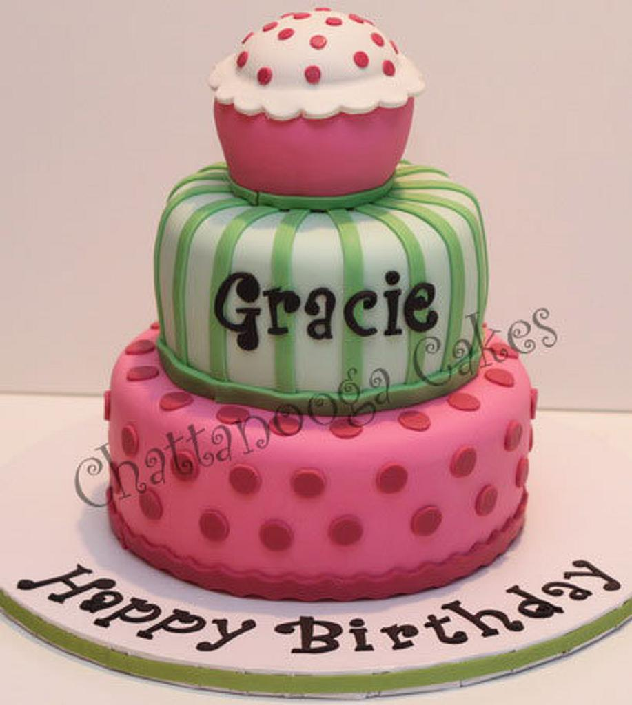 Pink and Green Birthday Cake by Sandy Thompson