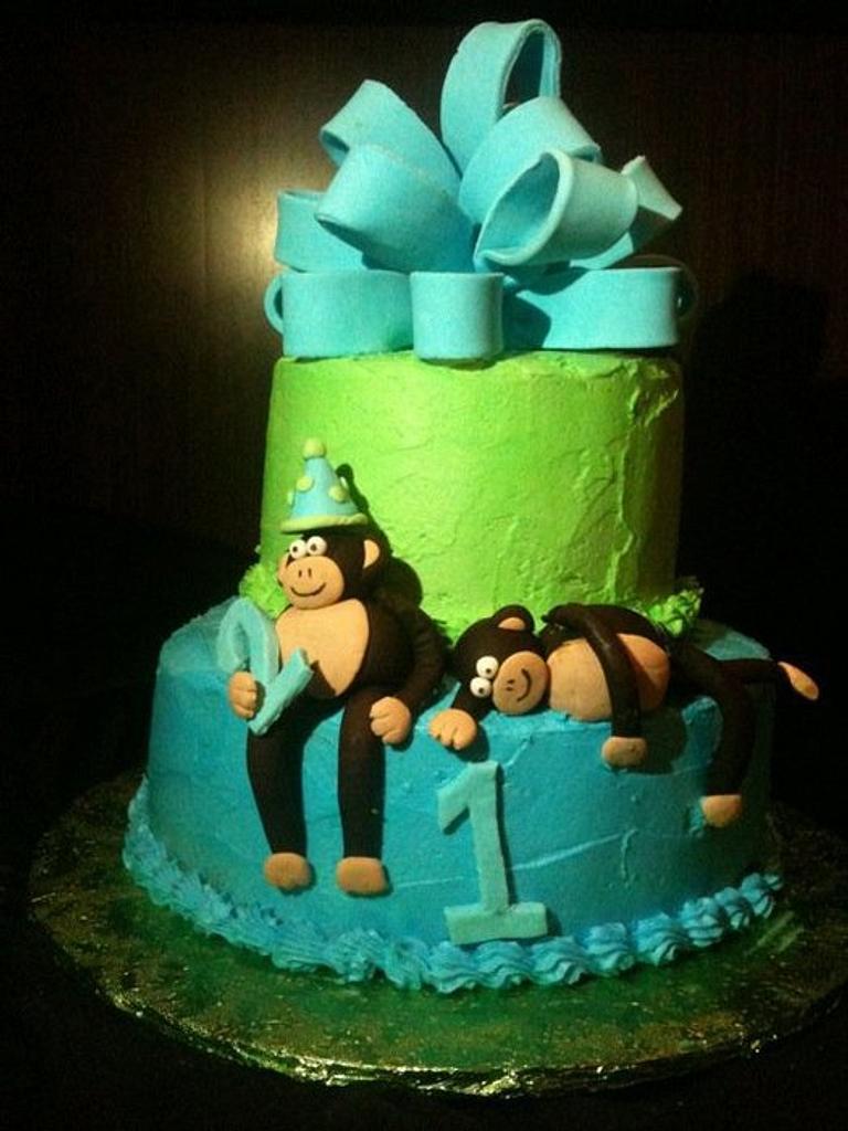 Monkey birthday cake by Sarah F