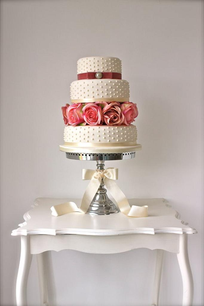 Pearls & Roses Wedding Cake by ConsumedbyCake