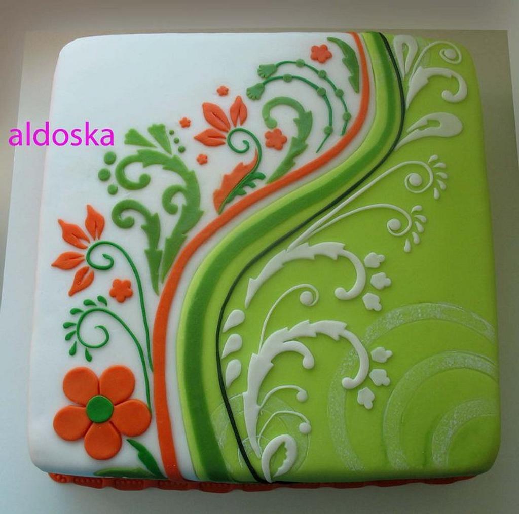 Green / orange / white by Alena