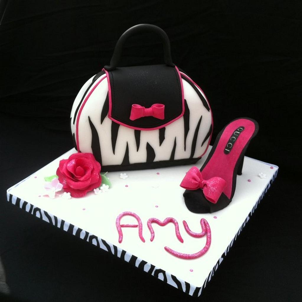 Zebra Print Handbag & Shoe Cake by Chocomoo