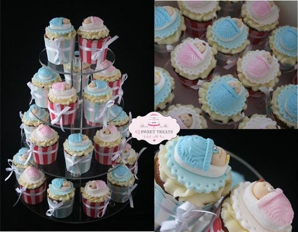 Sleeping babies Baby Shower Cupcakes by cjsweettreats