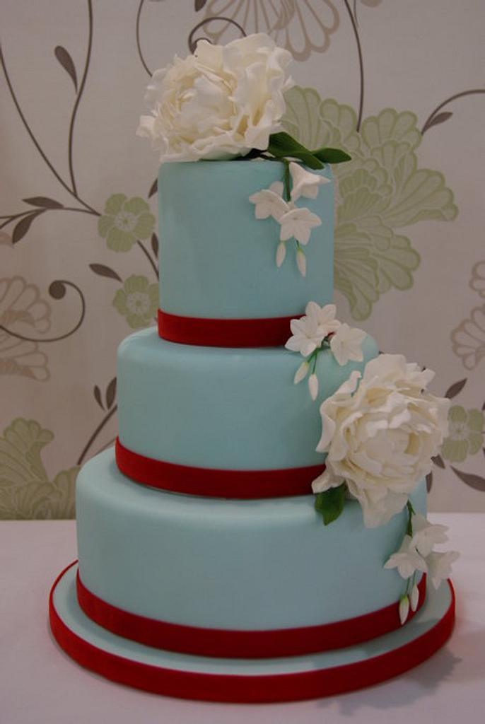 Tiffany Blue with Peonies Wedding Cake by Jayne Plant