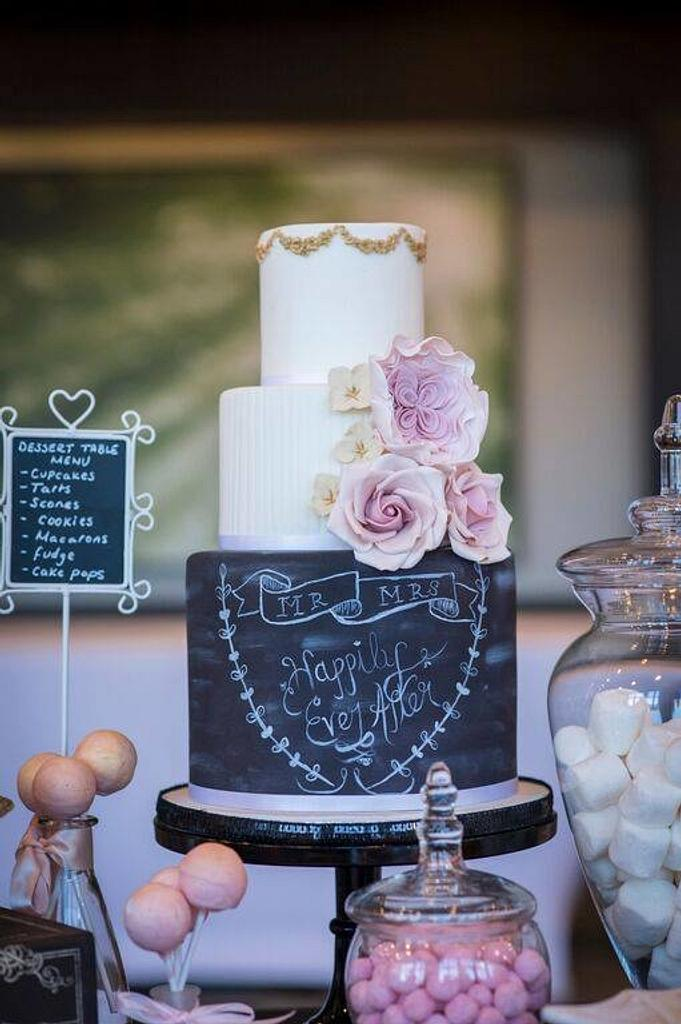 Chalkboard Wedding Cake by CakeyBakey Boutique