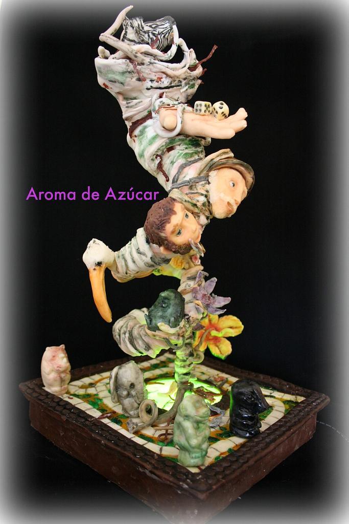 Jumanji Gravity Cake Primavera de Libro collab by Aroma de Azúcar