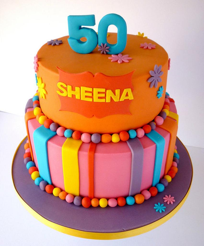 Bright colour 50th birthday cake by Liana @ Star Bakery
