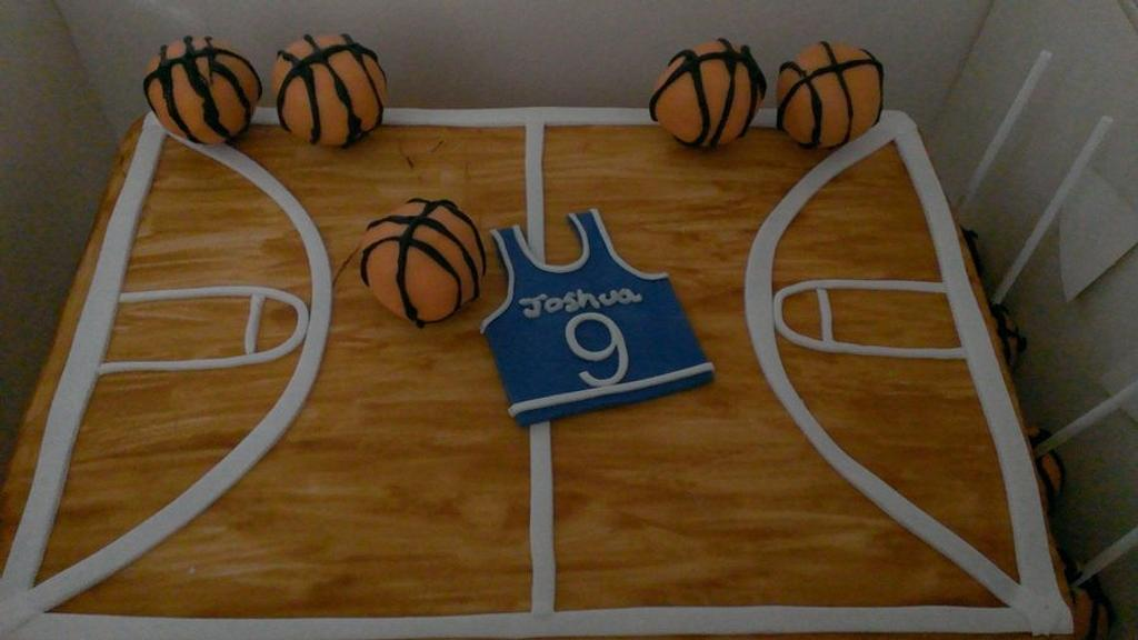 Basketball Court Cake. With Cakepops by Hollie Chamberlain