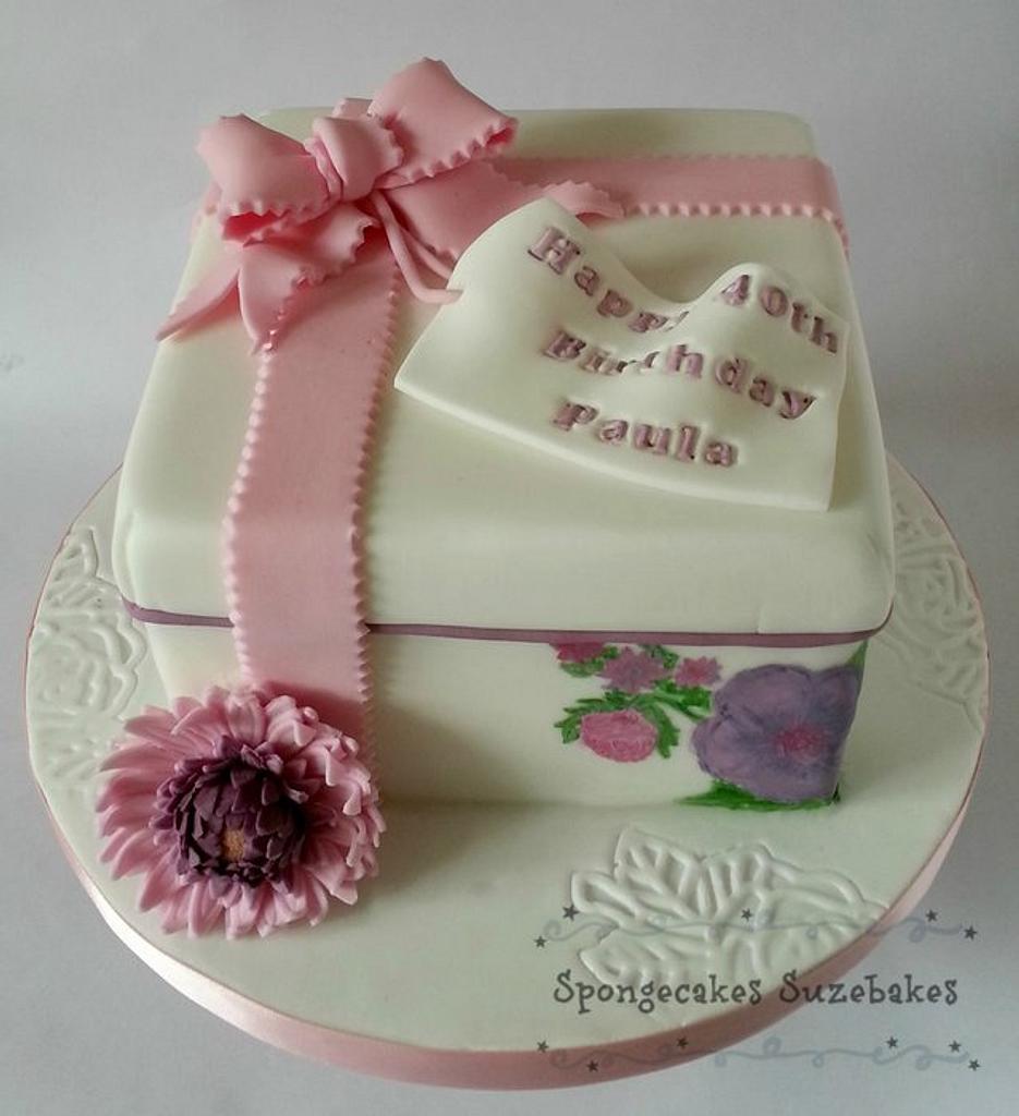 Gerbera Hand Painted Gift Box Cake by Spongecakes Suzebakes