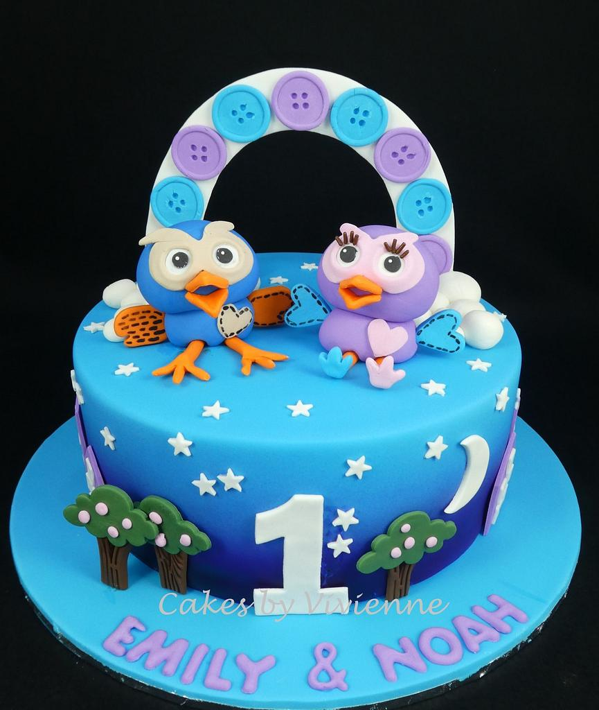 Hoot and Hooterbell Birthday Cake by Cakes by Vivienne
