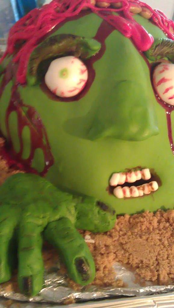 sticky dough cake zombie head by Julia Dixon