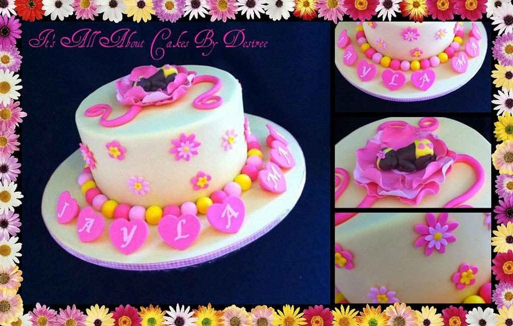 Baby Blossom Naming Day Cake by Desiree