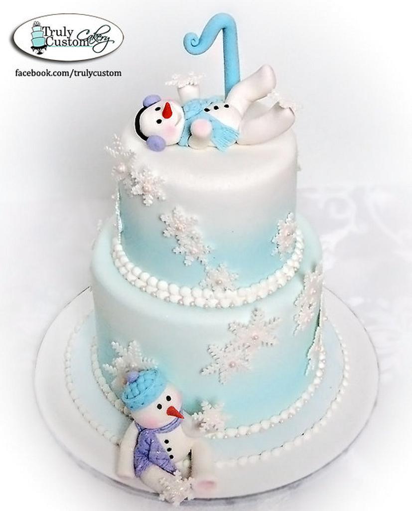 Snowbabies first birthday cake by TrulyCustom