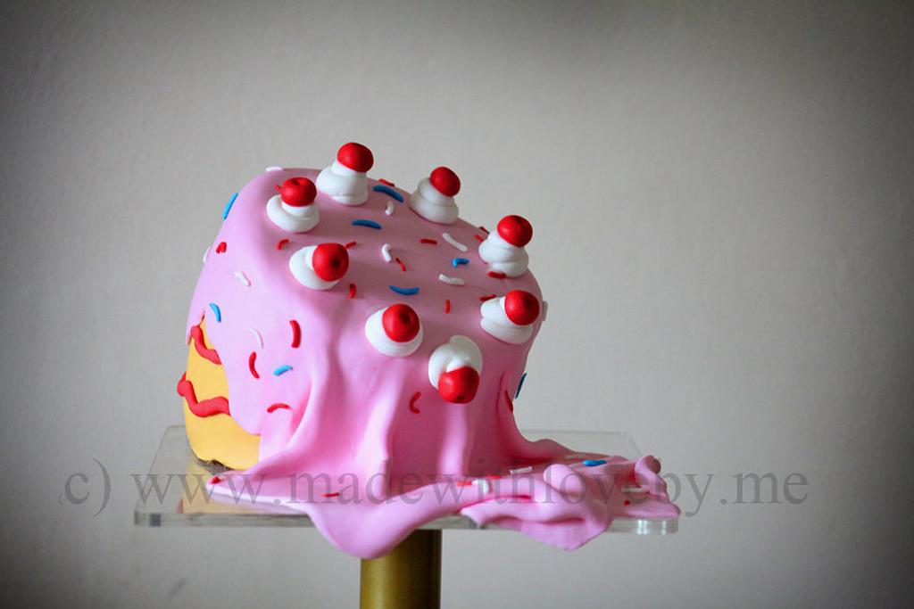 Drippy, dippy whimsical cake by Hannah