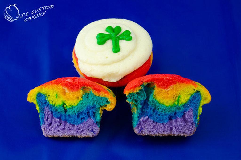 St Patrick's Day Rainbow Cupcakes by Jenn