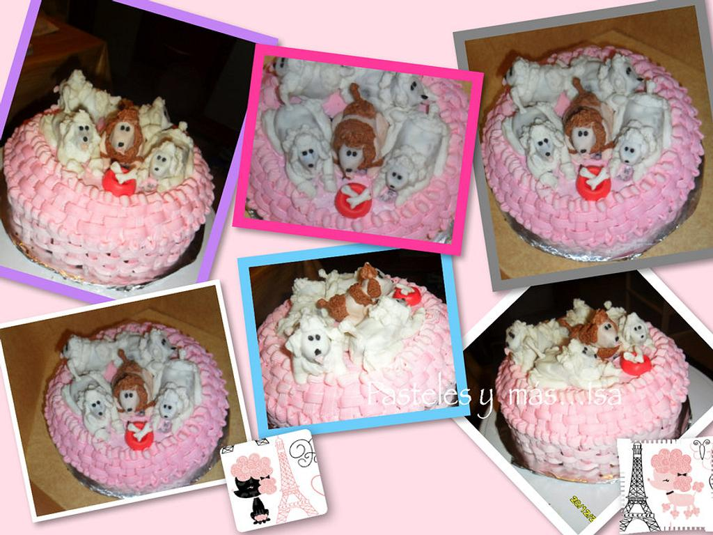 French poodle basket cake by Pastelesymás Isa