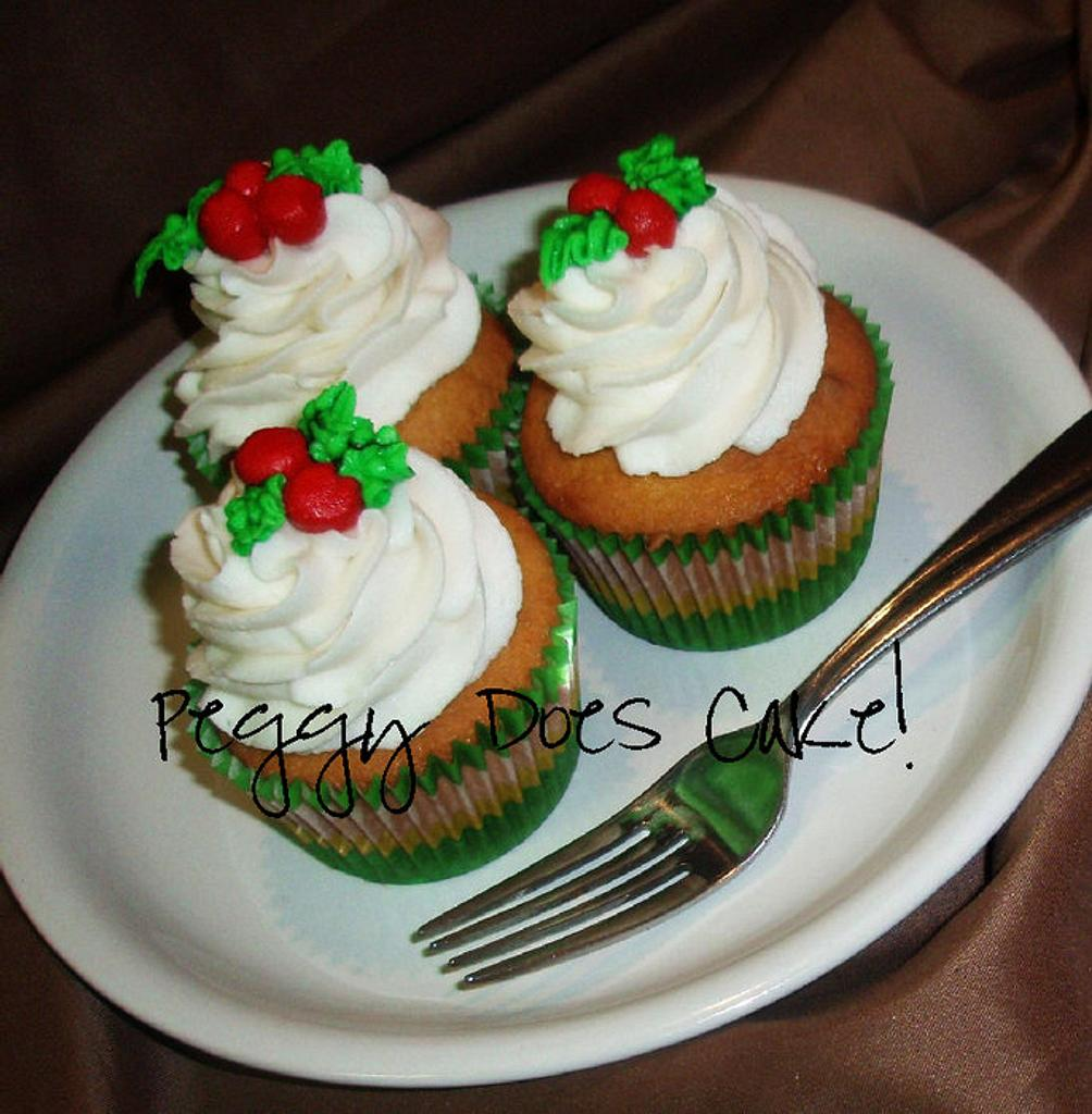 Holly Berry Cupcakes by Peggy Does Cake