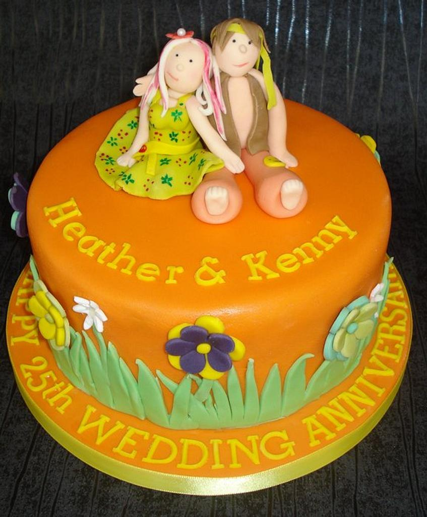 Hippy 25th wedding anniversary! by That Cake Lady