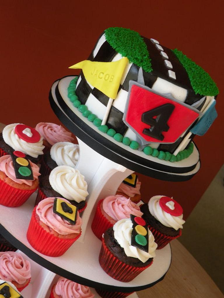 Cars cake & cupcakes by Dani Johnson
