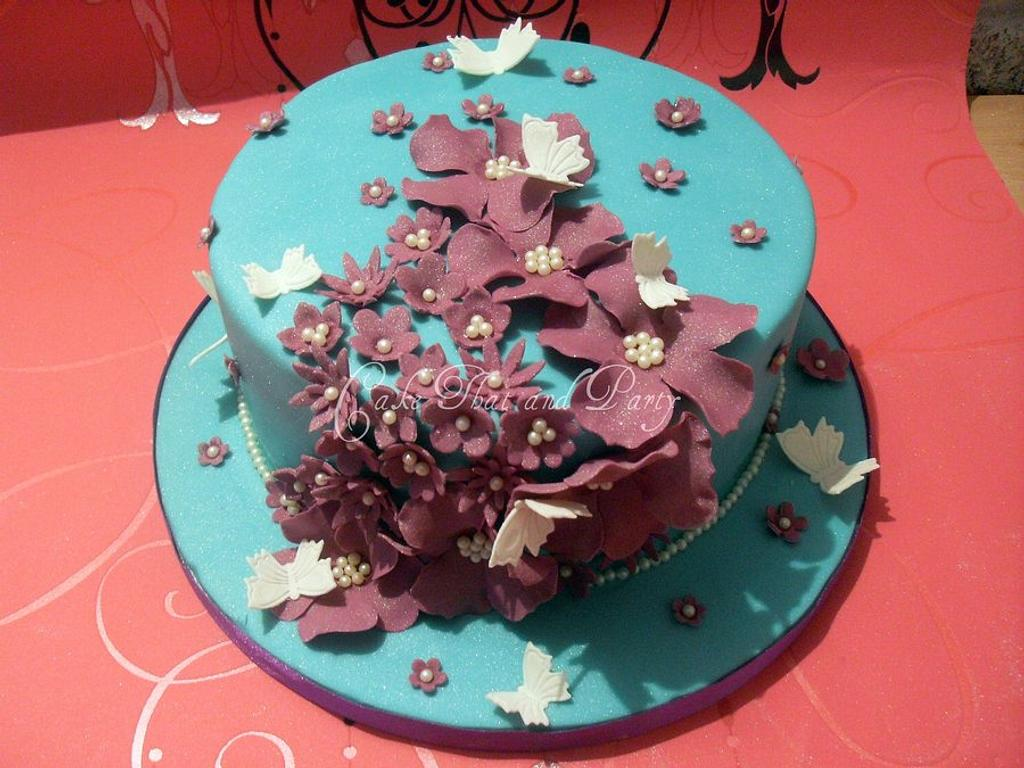 flowers and butterflies cake  by yvonne
