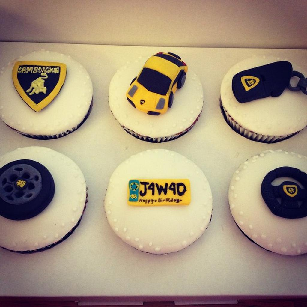 Lamborghini themed cupcakes by Cakes by Nohaila