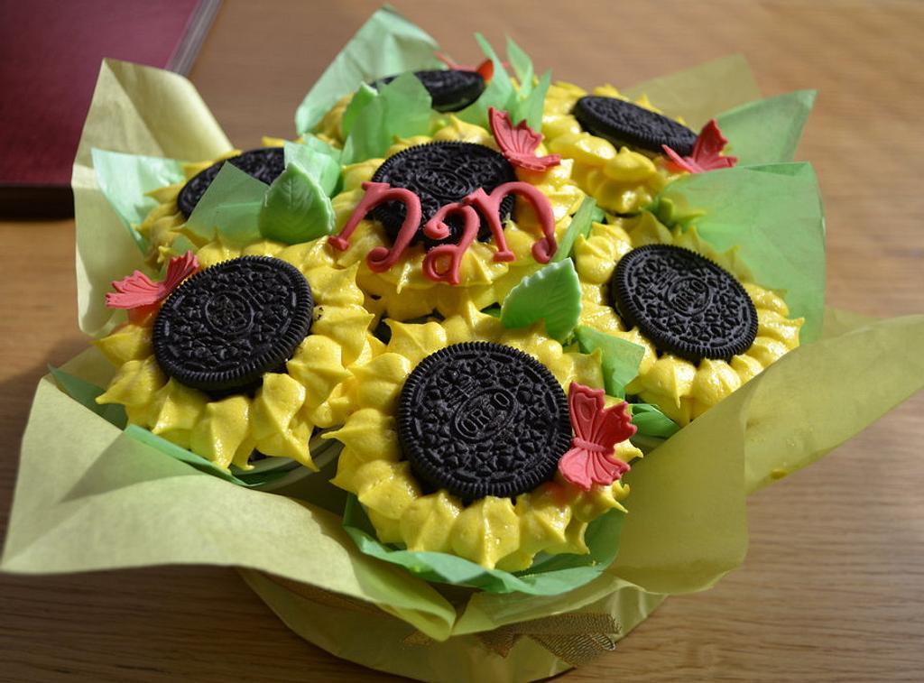 sunflower cupcake bouquet by glenda