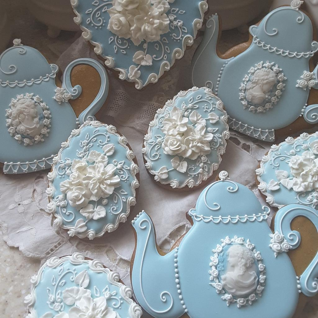 Teapots and Cameos  by Teri Pringle Wood