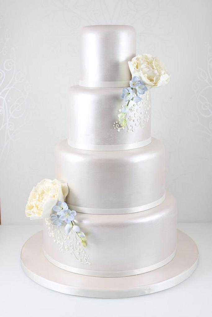 Lustred peony and freesia wedding cake by The Fairy Cakery