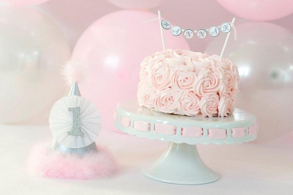 Pink rosette smash cake by cwelling
