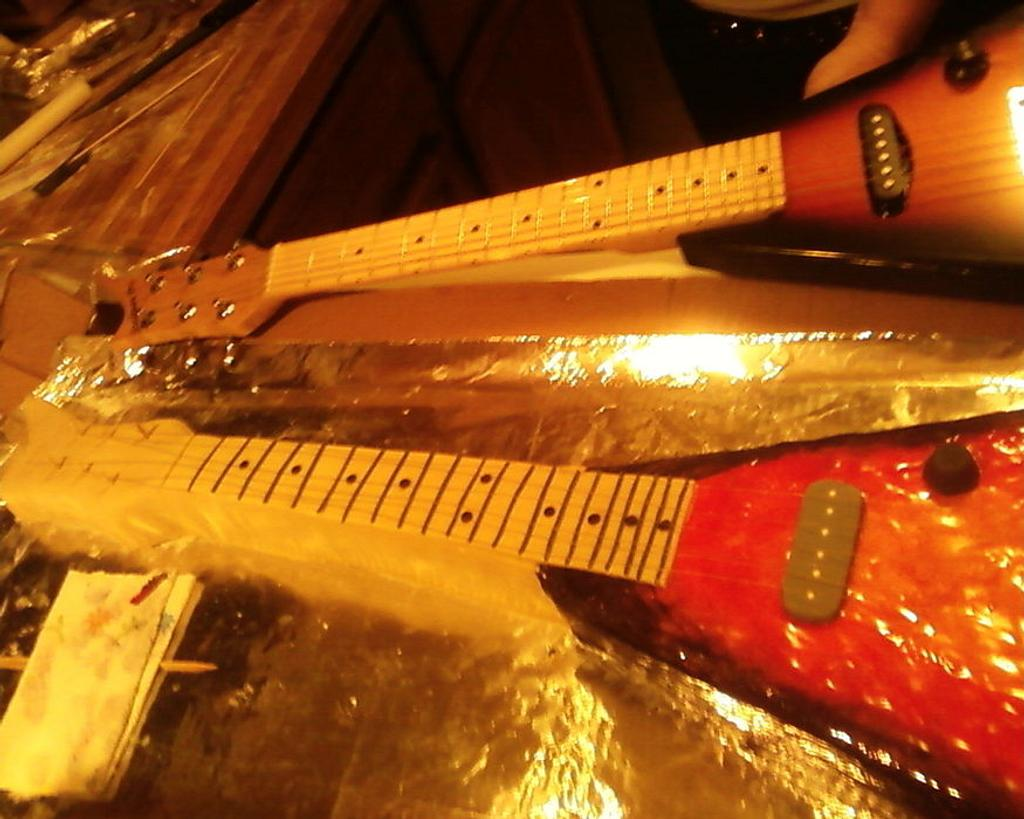 actual size 3/4 Flying V guitar by Erika Lynn Cain