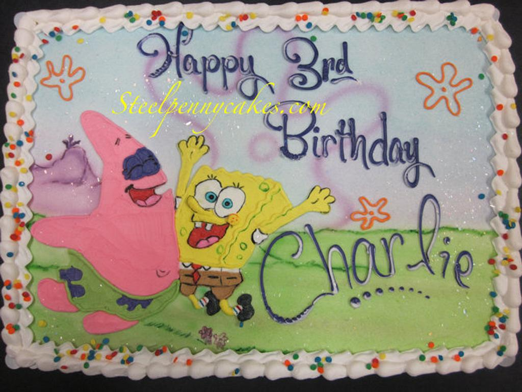 Sponge Bob buttercream drawing by Steel Penny Cakes, Elysia Smith