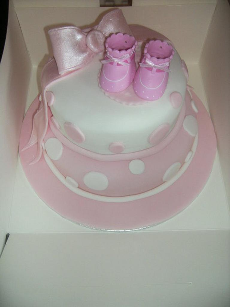 Pink Christening cake  by Tracey