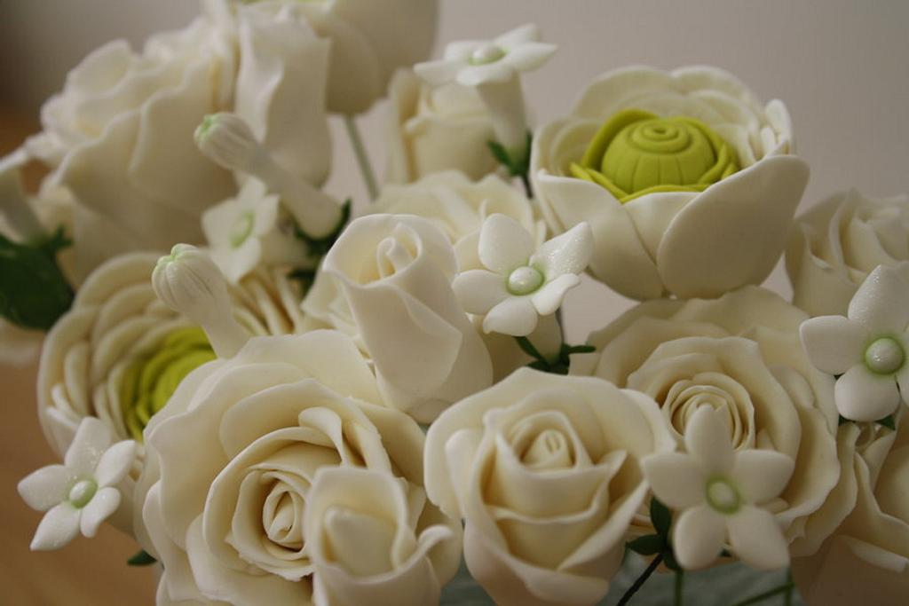 Gumpaste Flowers Wedding Cake by SweetCreationsbyFlor