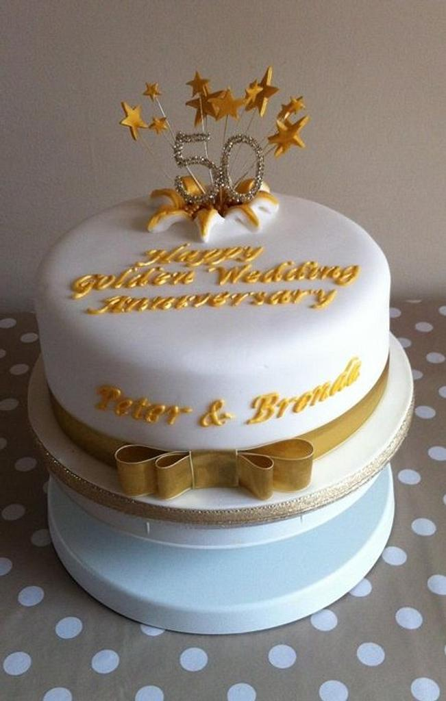Golden Wedding Anniversary cake by Carrie