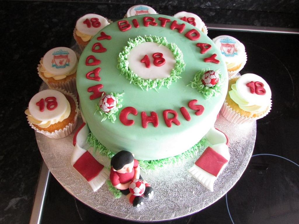 Liverpool fans 18th birthday cake and cupcakes  by Hellocupcake